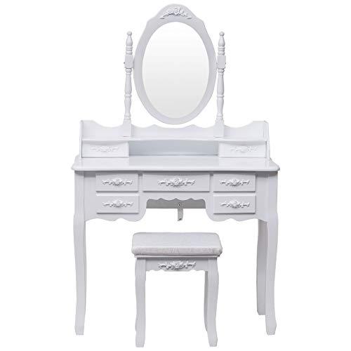 E-starain Kosmetiktisch, 90x40x144.5cm Schminktisch inkl. 1 Schminkspiegel 1 Hocker 7 Schubladen Frisierkommode Frisertisch Aus MDF Und Kiefernholz Makeup Table Weiß