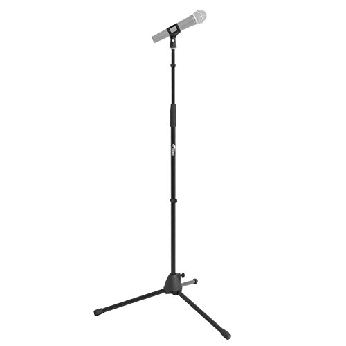 Tiger MCA21-BK Straight Microphone Stand with Tripod Base - Adjustable Mic Stand, Black