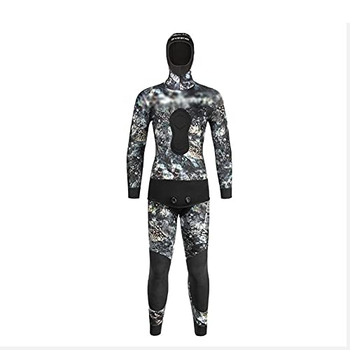 Angelay-Tian Traje de buceo de camuflaje, traje de caza de peces de 3/5/7 mm, buceo libre, traje de pesca caliente y caza, traje de pesca, traje de buceo dividido (color: 7 mm, tamaño: XXXL)