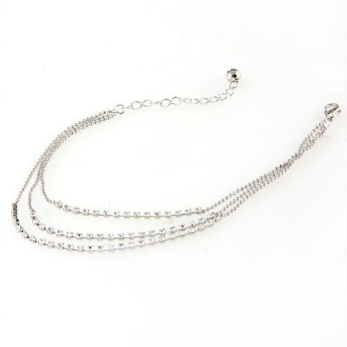 FACILLA Silver Tone 3 Row Crystal Chain Anklet Ankle Bracelet HOT [Jewellery]