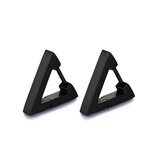 suoryisrty Pendiente Pendientes de aro de Acero Inoxidable de 1 par Pendientes de botón Triángulo Pendientes de perforación de Oreja Triángulo Negro