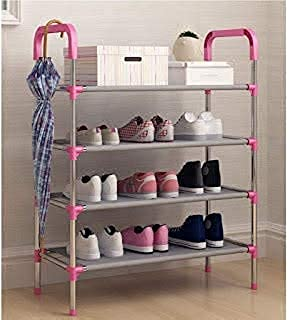 PURAM Shoe Rack Organizer 4 Layer Cabinet Multipurpose Stand 4-Tier Book Storage Shelf for 12 Pairs of Shoes for Closet En...