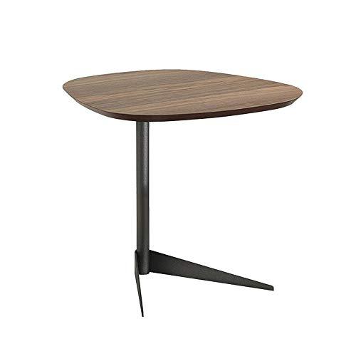 Jcnfa-Mesas Tavolino/Tavolino In Legno Massello, Divano Letto per Il Tempo Libero, Tavolino Rotondo Design Industriale, Gambe In Metallo per Soggiorno, Noce Rustico.
