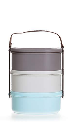 LOCK & LOCK Picknick Box Set groß mit Transport-Henkel & Hülle - 3er Lunchbox - Vesperdosen bpa-frei - 3 Design Picknickboxen stapelbar & tragbar