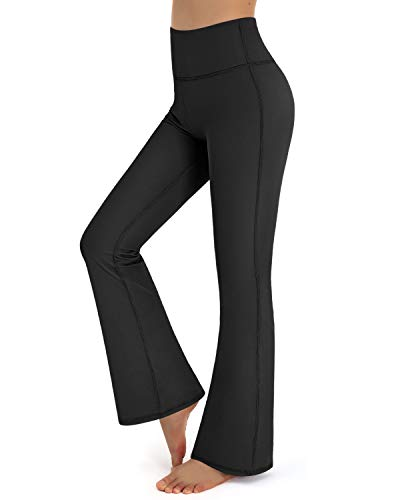 Promover Bootcut Yoga Pants for Women High Waist Print Dress Bootleg Workout Pant Tummy Control for Casual Work (Black, Small)