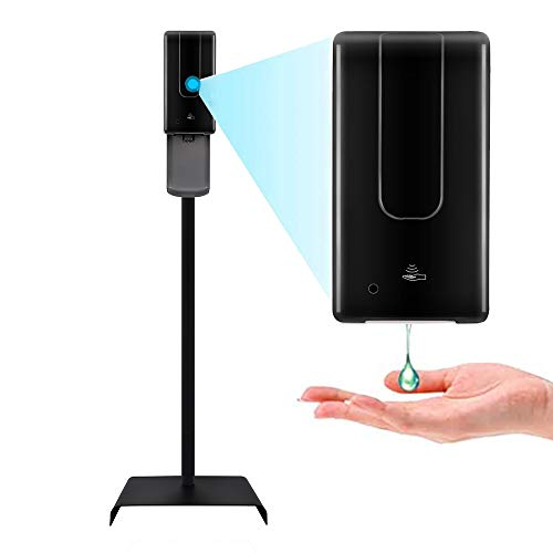 SwiftFinder Touchless Hand Sanitizer Dispenser Automatic Portable hand sanitizing station with Steel Floor Stand Drip Catcher Infrared Sensor Refillable 1200ml Bottle -Black