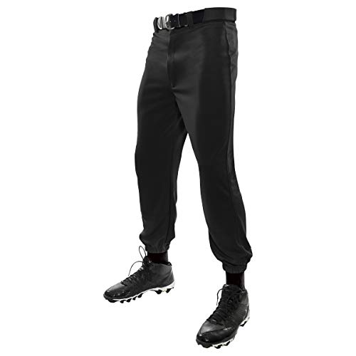 CHAMPRO MVP Classic Closed-Bottom Men's Baseball Pants in Solid Color with Reinforced Double-Knee, Black