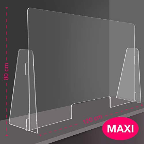 Maxi-Sonnenschutz für Tische, 120 x 80 cm, PPF, exklusives Produkt von Q&B Grafiche, Trennwand aus Plexiglas mit Dokumentenöffnung