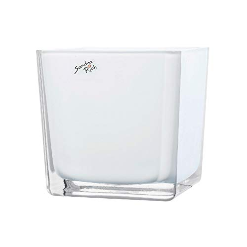 Würfel Glas farbig Blumentopf Übertopf Blumenübertopf weiß 14 cm