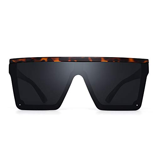 JIM HALO Flach Top Schild Sonnenbrillen Platz Spiegel Randlos Brillen für Damen Herren(Schildkrötenrahmen/Graue Linse)