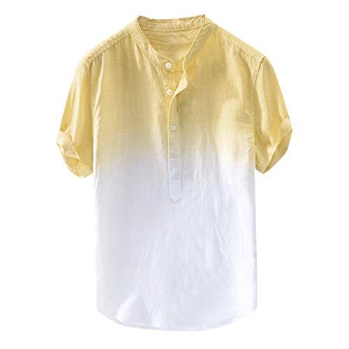 Top in Cotone da Uomo,Camicie Uomo Lino Vovotrade Allentata Comode E Traspiranti Stile Slim Estivo Slim Grandad Collar Spiaggia Camicie Shirts