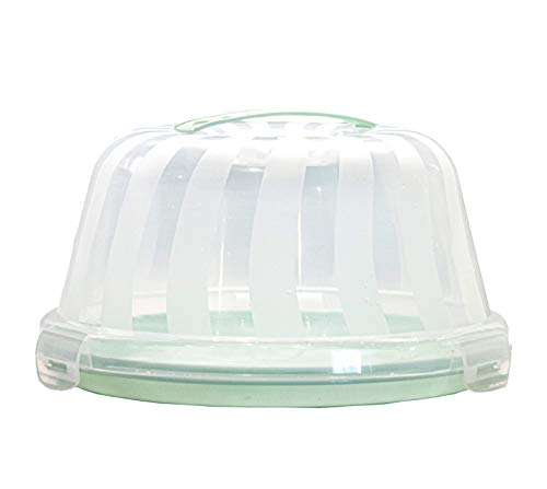 Top Shelf Elements Carrier for Bundt Cakes, Pie Carrier, Cheesecake Carrier. Perfect Holder for Standard 2 Layer 9 inch Cakes. Stylish Cake Carrier with Pretty Seafoam Green Color
