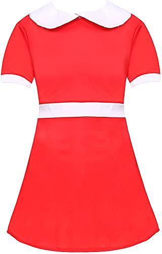 Costume da orfano per bambine – vestito rosso con colletto bianco + calzini bianchi – calze bianche – ragazze TV film musica vestire libro settimana costume costume costume da sera (X-Large)