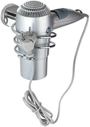 Wenko Bosio Soporte para secador de Pelo, Acero Inoxidable, Plateado Brillante, 9 x 8,5 x 13,5 cm