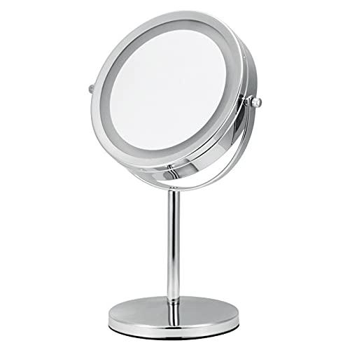 Espejo De Tocador con Luz LED, Rotación De 360 ° Espejo De Maquillaje De Escritorio De 7 Pulgadas, Espejo De Aumento 5X / 10X, Espejo Cosmético HD Portátil De Doble Cara, Plateado Brillante,10x
