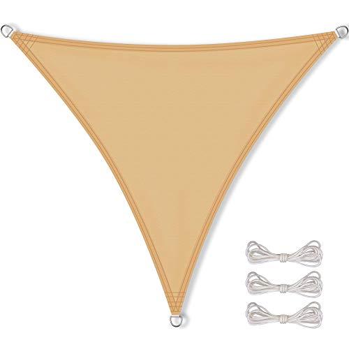 CelinaSun Sonnensegel inkl Befestigungsseile PES Polyester wasserabweisend imprägniert Dreieck gleichseitig 6 x 6 x 6 m Sand beige