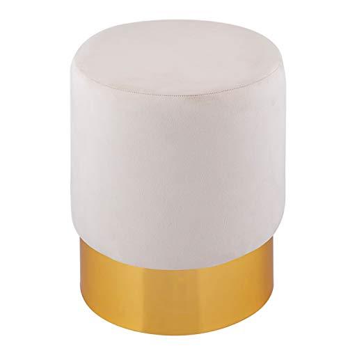 casamia Samthocker Samt Pouf Ø 32 H 42 cm Sitzhocker Sitzpouf Velour Hocker bis 150 kg belastbar Farbe Creme weiß
