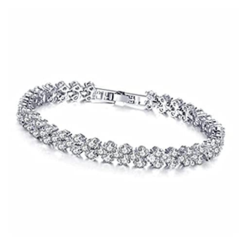 MENGHUA Super Flash Crystal Zircon Full Diamond Bracelet Hembra Rhinestone Ocean Heart Variedad de Gypsophila Tibetan Silver Fashion Bracelet Whitegold