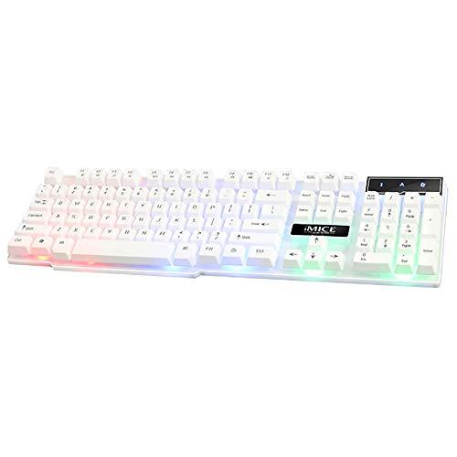 Gaming-Tastatur, kabelgebundenes USB, 3-Farben-Hintergrundbeleuchtung Floating Key Cap 104 Key (wasserdicht) - Schwarz, Weiß, Silber,Silver