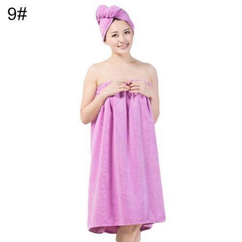 2pcs / Set Vrouwen Water Absorbing Fast Dry haar hoed handdoek Spa Wrap Douche Supply (Color : Purple)