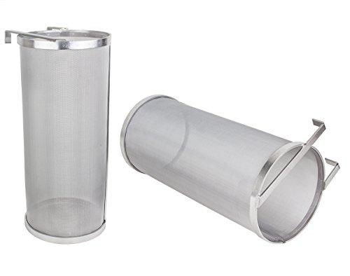 Beeketal 'BBF-1' Bier Hopfen Filter Feinsieb aus Edelstahl mit sehr feinem 300 Mikron Siebgewebe (ca. 350 x 150 x 150 mm), Bierfilter z.B zum Klären von Maischeresten, mit Halterung zum Einhängen