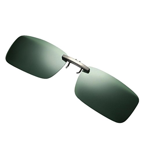 Clearance IEason Detachable Night Vision Lens Driving Metal Polarized Clip On Glasses Sunglasses (Green)