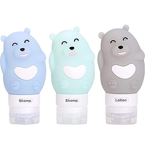 BESTZY 3pcs Botella Viaje Silicona Prueba de Fugas (80ml) para Champús Lociones y Artículos Tocador Botes Rellenables envases cosmetica