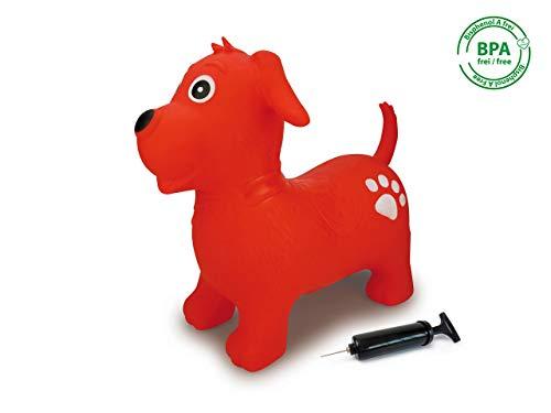 Jamara Rouge 460454 – Animal Sauteur Chien Pompe-Favorise Le Sens de l'équilibre, Oreilles d'Animaux comme Support, Résistant, Entretien Facile