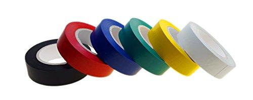 6 Rollen baytronic PVC Isolierband 15mm x 10m verschiedene Farben