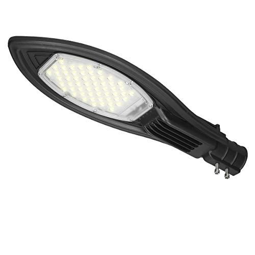 ECD Germany Lámpara de Calle LED 50W Blanco Frío 6000K Alumbrado Público 220-240 V Aluminio Farola de Calle 5000 Lumenes Luz Exterior IP65 Iluminación de Áreas Diseño Moderno Ángulo 120° No Regulable