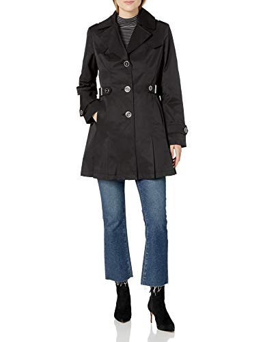 Via Spiga Women's Single Breasted Pleated Trench Coat, Black, Large
