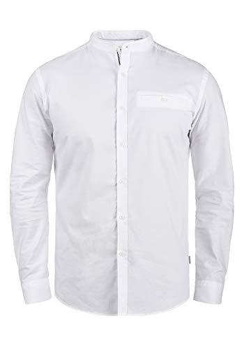 !Solid Allion Herren Hemd Langarmhemd Freizeithemd mit Stehkragen Slim Fit, Größe:XL, Farbe:White (0001)
