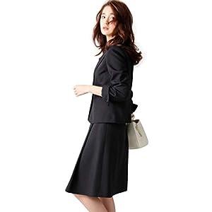 [nissen(ニッセン)] スーツ 上下 セット (タックフレア スカート + ジャケット) オフィス ビジネス 大きいサイズ レディース 洗える ポケット付 黒 26号