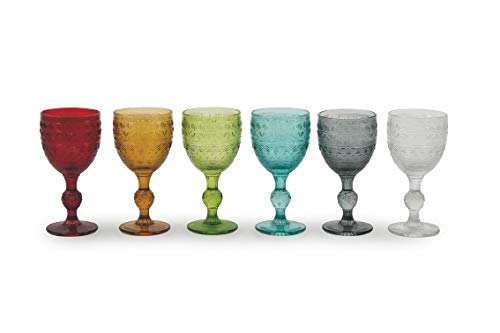 Villa d'Este Home Tivoli 2190918 Mexico Set 6 Calici, 235 ml, 8 x 8 x 16 cm, Vetro, Multicolore