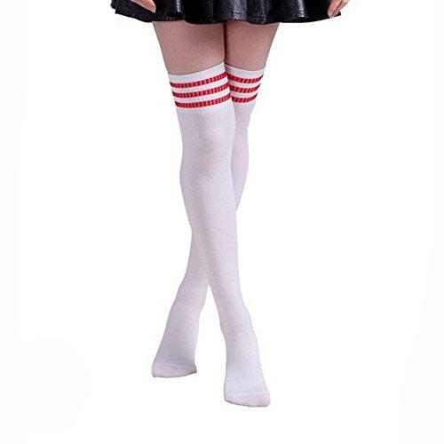 HugeStore Damen Frauen Lange Streifen Socken Overknee Strümpfe Kniestrumpfe Strumpfhose Socken weiß Rot