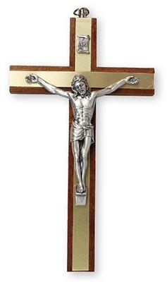 Wall Hanging 15cm Mahogany Metal Insert Crucifix Cross 10580