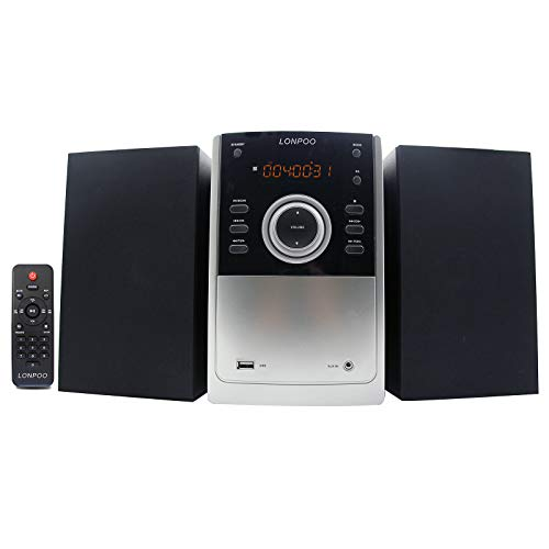 Stereo Compatto Sistema Audio Domestico, Lettore CD MP3, Sistema Micro Hi-Fi 30W Radio FM con Bluetooth, Ingresso USB/AUX-IN, Telecomando