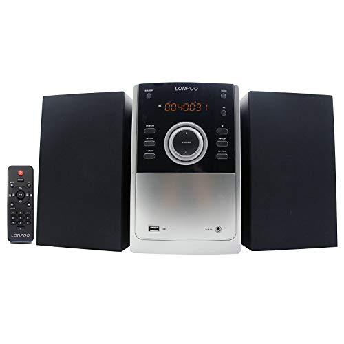 Stereo Compatto Sistema Audio Domestico, Lettore CD MP3, Sistema Micro Hi-Fi 30W Radio FM con Bluetooth, Ingresso USB/AUX-IN, Telecomando
