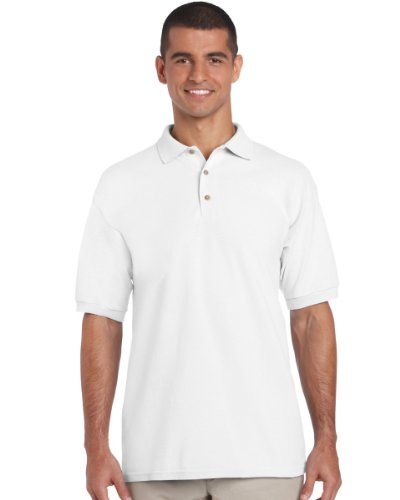 Gildan 3800 Ultra Cotton Erwachsene Combed Ringspun Pique Polo Shirt Weiß 2XL