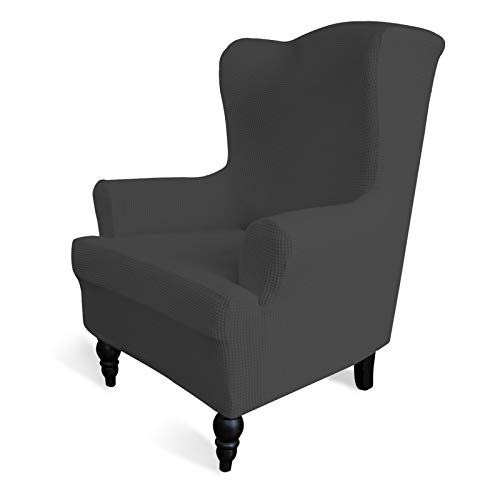Easy-Going Stretch Wingback Chair Sofa Slipcover 1-Piece Sofa Cover Furniture Protector Couch Soft with Elastic Bottom Spandex Jacquard Small Checks ( Wing Chair,Dark Gray)