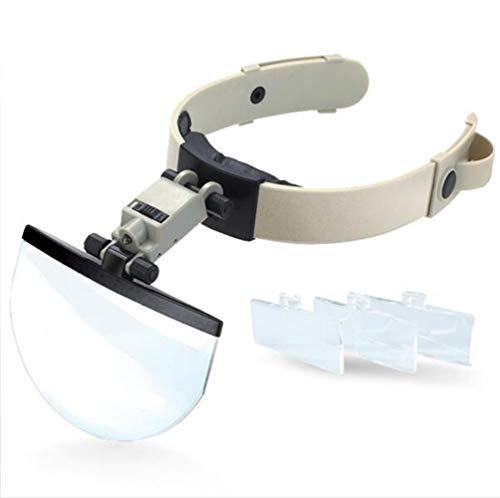 Y&MoD Kopfband-lupenbrille Mit Led-lampe Lichtfreie Hände Vergrößerungsgläser Einstellbar Für Hobby, Elektriker, Juweliere, Nähen, Basteln Und Senioren1.5x 2.0x 2.5x 3.5x Times