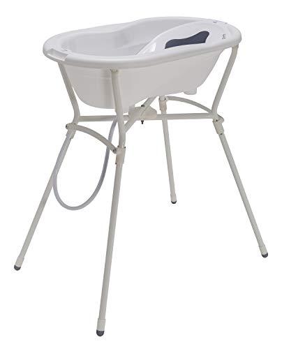 Rotho Babydesign Komplett-Badeset mit Wanne und Klapp-Ständer, 0-12 Monate, Max 25kg, TOP, Weiß, 21060000101