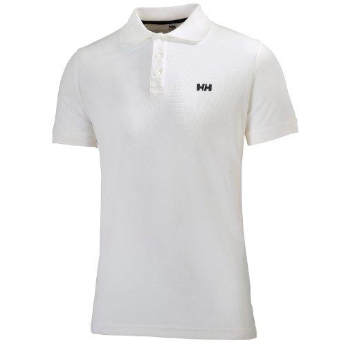 Helly Hansen Driftline Polo Maglia T-Shirt con UPF 30+ e Tessuto Tactel a Maniche Corte, Design Sportivo e Casual, per Sci, Escursionismo, Vela e per Uso Quotidiano , Bianco (001), L, Uomo