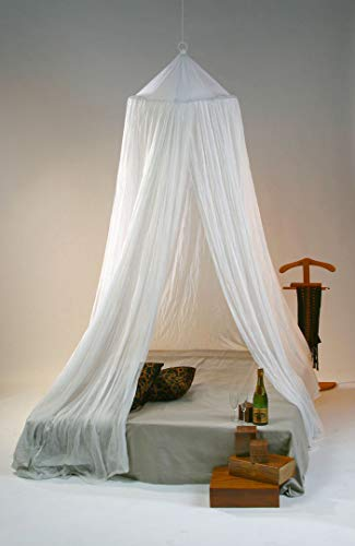 Mosquitera para cama de ALGODÓN con forma piramidal para camas grandes hasta 150 cm de ancho. Aro de 65 cm Ø