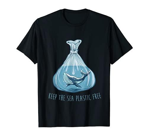 Mantenga el mar libre de plástico Salvar el planeta Medio ambiente Océano Camiseta