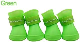 YBAA 4pcs S/M/L Pet Dog Rain Shoes Anti Slip Waterproof Pet Dog Cat Rain Shoes 7 Colors Rubber Boots for Four Seasons (Color : Green, Size : S)