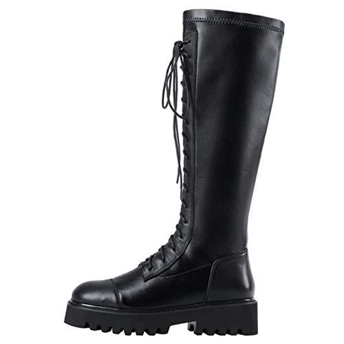 Shinelyf Comodas Mujer Botas Cuero Elegante Largo Boots Forro Cálido Ajustables Buena Elasticidad hasta La Rodilla Varias Tallas,Black Plus Velvet,39
