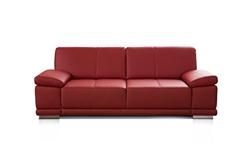 CAVADORE 3,5-Sitzer Ledersofa Corianne / Großes Echtleder-Sofa im modernen Design / Mit verstellbaren Armlehnen / 248 x 80 x 99 / Echtleder rot