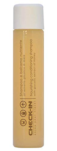Amenities CHECK IN Shampooing et après-shampoing Ligne courtoisie, flacon de 30 ml. Carton de 312 Onyx, Hair Conduire
