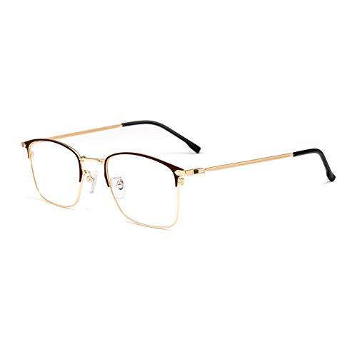 HQMGLASSES Gafas Lectura luz Anti-Azul progresivas progresivas Inteligentes para Hombres, Lentes Resina Alta definición Marcos Negocios aleación Ultraligera Lector dioptrías +1.0 a +3.0,Marrón,+1.75